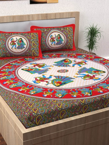 152 TC Pure Cotton Traditional Rajasthani Printed Double Bed Sheet With 2 Pillow Covers - 14502825 - Standard Image - 1