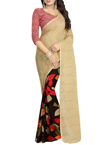 beige half and half saree - 14503115 - Standard Image - 1