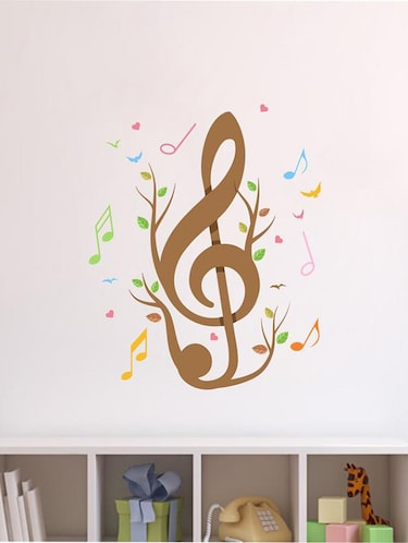 Creatick Studio Music Notes Birds & Hearts Wall Sticker Standard Size - 75Cm X 70Cm  Color - Multicolor - 14503921 - Standard Image - 1