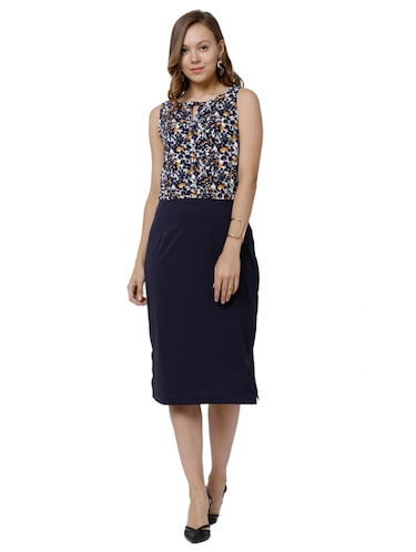 002617766 Buy Navy Blue Sheath Dress by Tokyo Talkies - Online shopping for ...