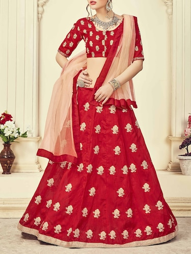 Red silk embroidered panelled lehenga - 14504175 - Standard Image - 1
