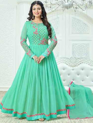 green embroidered flared semi-stitched suit - 14504177 - Standard Image - 1