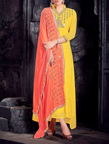 yellow a-line suit semi-stitched suit - 14504188 - Standard Image - 1