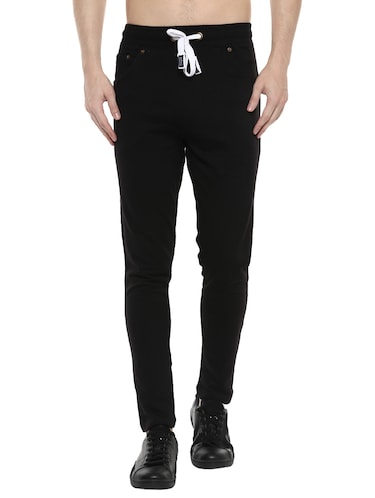 black cotton  full length track pant - 14504450 - Standard Image - 1