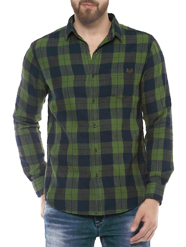 green cotton casual shirt - 14504677 - Standard Image - 1