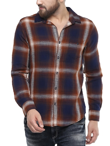 brown cotton casual shirt - 14504686 - Standard Image - 1