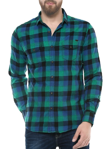 green cotton casual shirt - 14504688 - Standard Image - 1