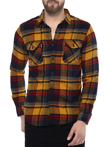 yellow cotton casual shirt - 14504704 - Standard Image - 1