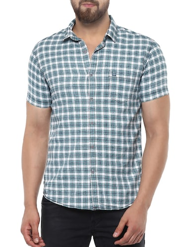 blue cotton casual shirt - 14504710 - Standard Image - 1