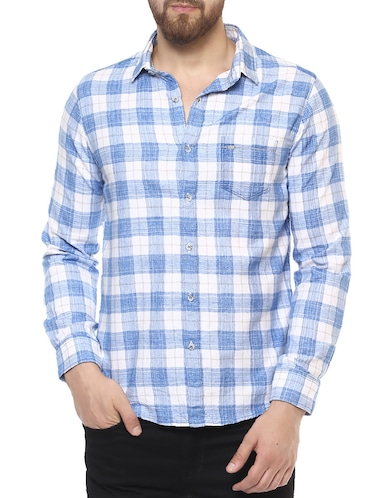 blue cotton casual shirt - 14504711 - Standard Image - 1