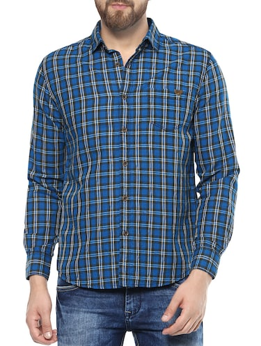 blue cotton casual shirt - 14504716 - Standard Image - 1