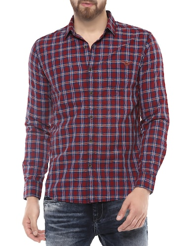 red cotton casual shirt - 14504717 - Standard Image - 1