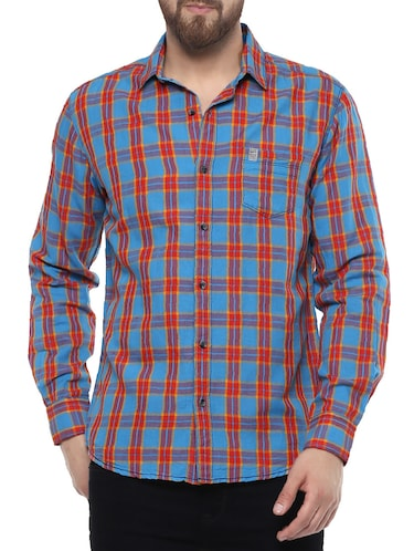 blue cotton casual shirt - 14504724 - Standard Image - 1