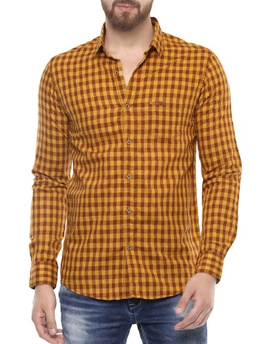 yellow cotton casual shirt - 14504730 - Standard Image - 1