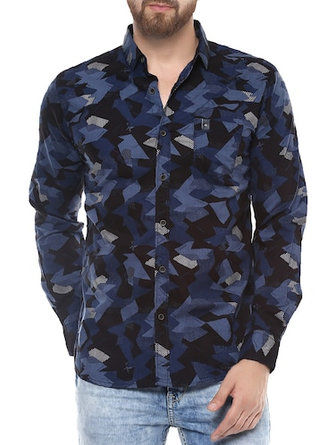 blue cotton casual shirt - 14504752 - Standard Image - 1