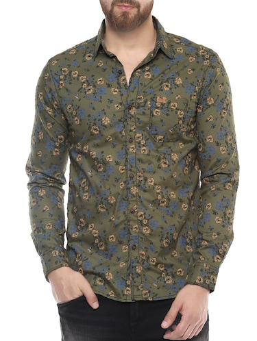 green cotton casual shirt - 14504756 - Standard Image - 1