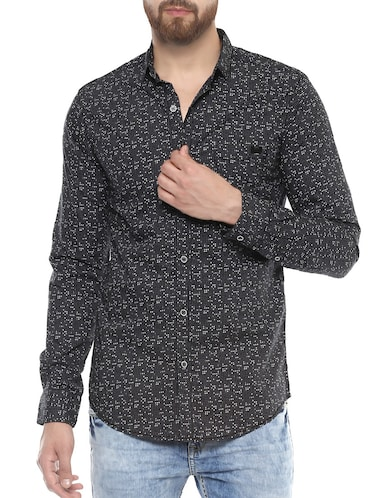 grey cotton casual shirt - 14504765 - Standard Image - 1
