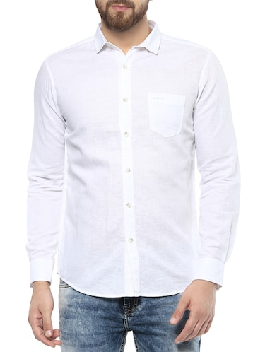 white cotton casual shirt - 14504928 - Standard Image - 1