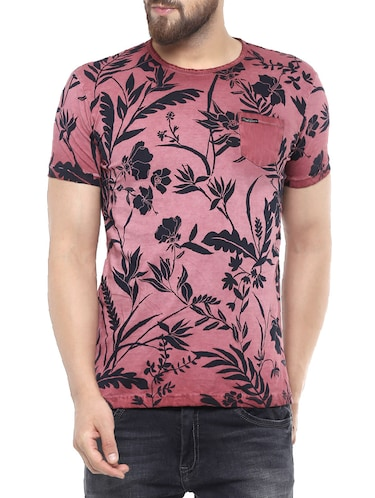 pink cotton all over print t-shirt - 14504938 - Standard Image - 1