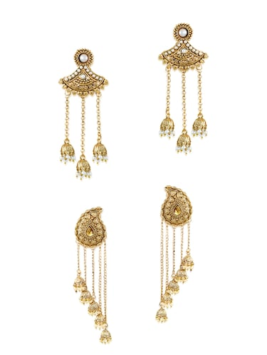 gold zinc jhumka earrings - 14506066 - Standard Image - 1