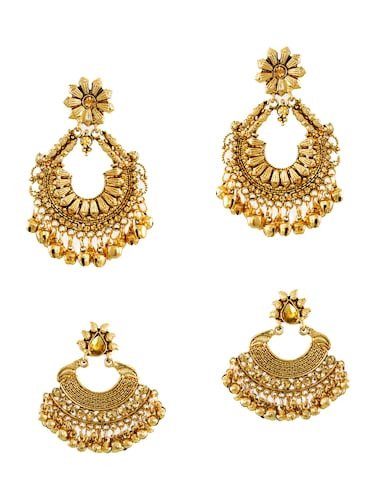 gold zinc chandballi earrings - 14506145 - Standard Image - 1