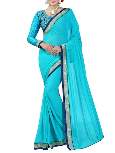 blue georgette bordered saree with blouse - 14506431 - Standard Image - 1