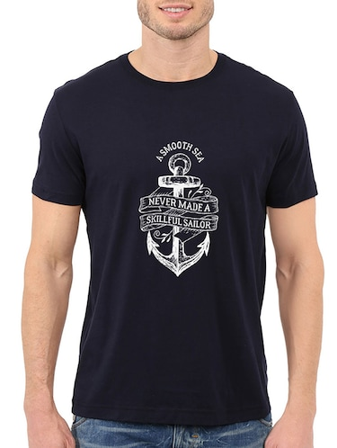 navy blue cotton chest print tshirt - 14506437 - Standard Image - 1