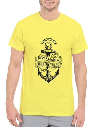 yellow cotton chest print tshirt - 14506441 - Standard Image - 1