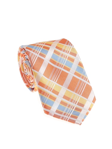orange micro silk fabric tie with cuff link and pocket square - 14506781 - Standard Image - 1