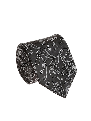 black micro silk fabric tie with cuff link and pocket square - 14506786 - Standard Image - 1