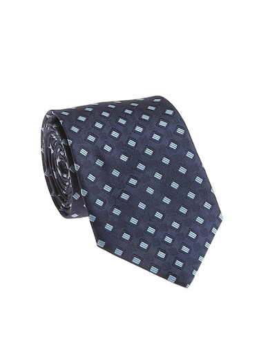 navy blue  micro silk fabric tie with cuff link and pocket square - 14506889 - Standard Image - 1