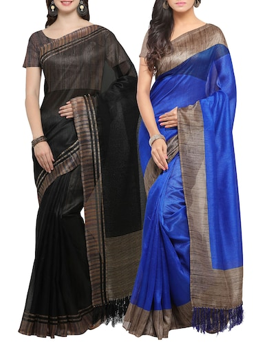 Set of 2 Multicolored tussar silk bordered saree with blouse - 14509813 - Standard Image - 1