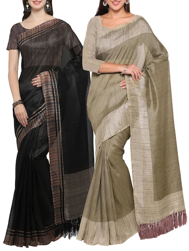 Set of 2 Multicolored tussar silk bordered saree with blouse - 14509819 - Standard Image - 1