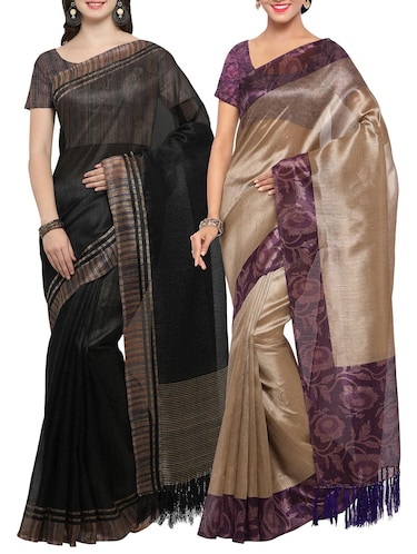 Set of 2 Multicolored tussar silk bordered saree with blouse - 14509830 - Standard Image - 1