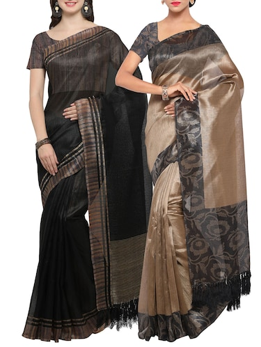 Set of 2 Multicolored tussar silk bordered saree with blouse - 14509833 - Standard Image - 1
