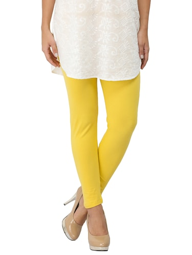 yellow cotton lycra leggings - 14510319 - Standard Image - 1