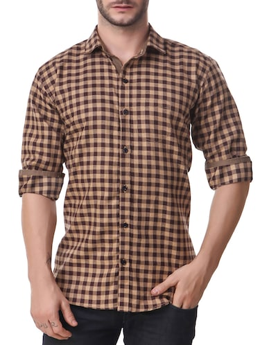 brown cotton casual shirt - 14510375 - Standard Image - 1