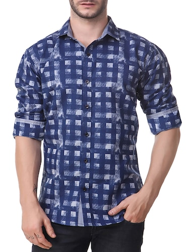 blue cotton casual shirt - 14510377 - Standard Image - 1