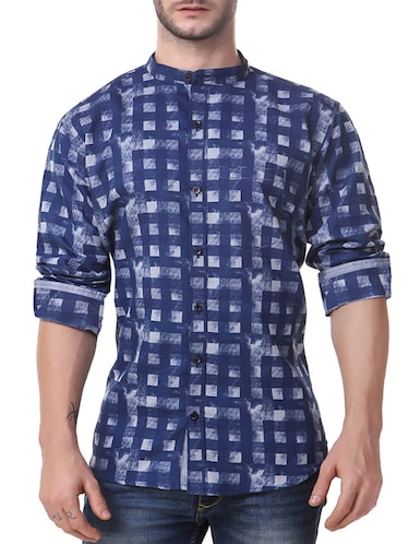 navy blue cotton casual shirt - 14510379 - Standard Image - 1