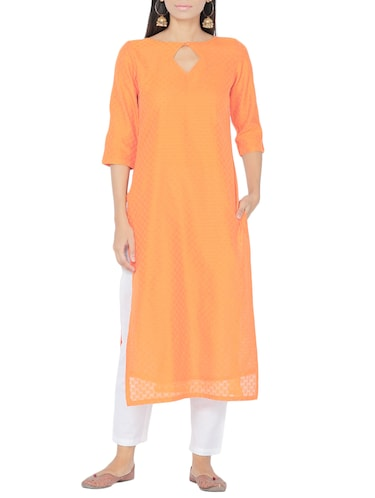 orange chanderi straight kurta - 14510657 - Standard Image - 1