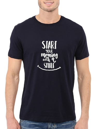 navy blue cotton chest print tshirt - 14512117 - Standard Image - 1