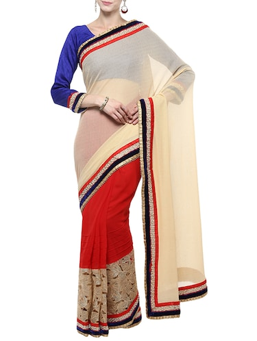 beige half and half saree with blouse - 14512205 - Standard Image - 1