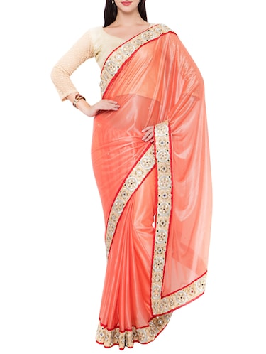 orange bordered saree with blouse - 14512216 - Standard Image - 1