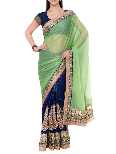 blue half and half saree with blouse - 14512222 - Standard Image - 1