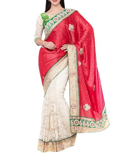 red half and half  saree with blouse - 14512250 - Standard Image - 1
