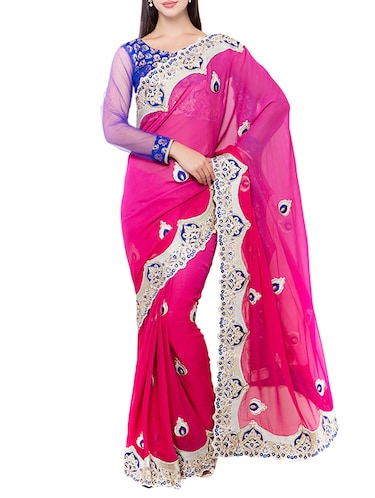 pink embroidered saree with blouse - 14512256 - Standard Image - 1