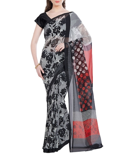 black georgette printed saree with blouse - 14512574 - Standard Image - 1