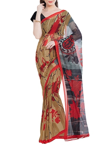 Beige printed saree with blouse - 14512595 - Standard Image - 1