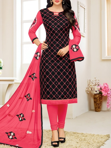 black cotton unstitched dress material - 14513139 - Standard Image - 1
