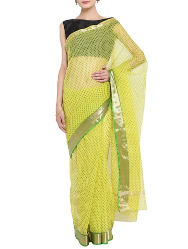 yellow kota doria saree with blouse - 14513489 - Standard Image - 1